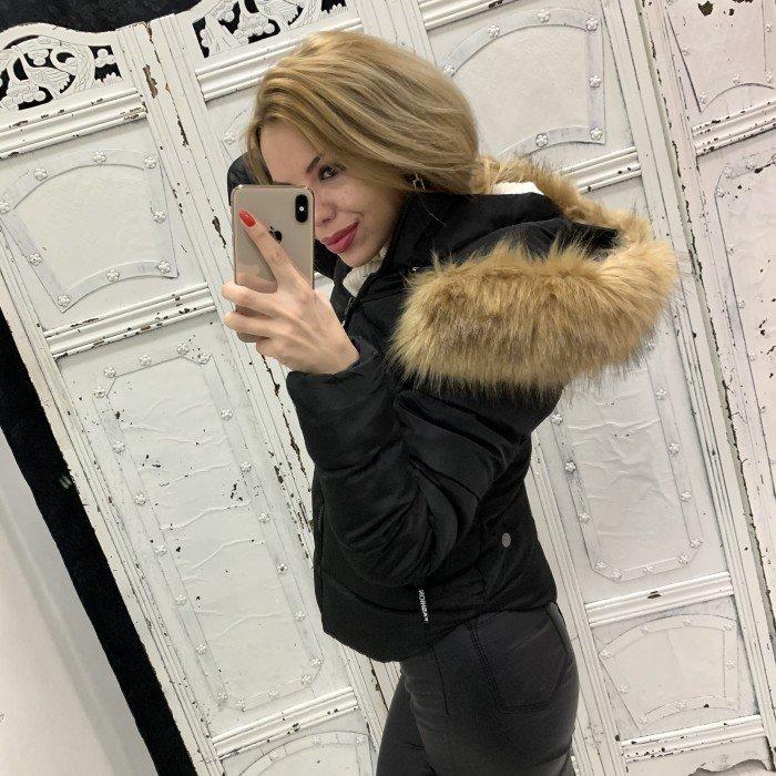 Дамско зимно късо яке с бежов пух-3930