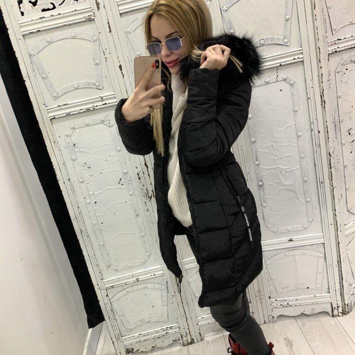 Дамско зимно черно яке с качулка и черен пух-88197