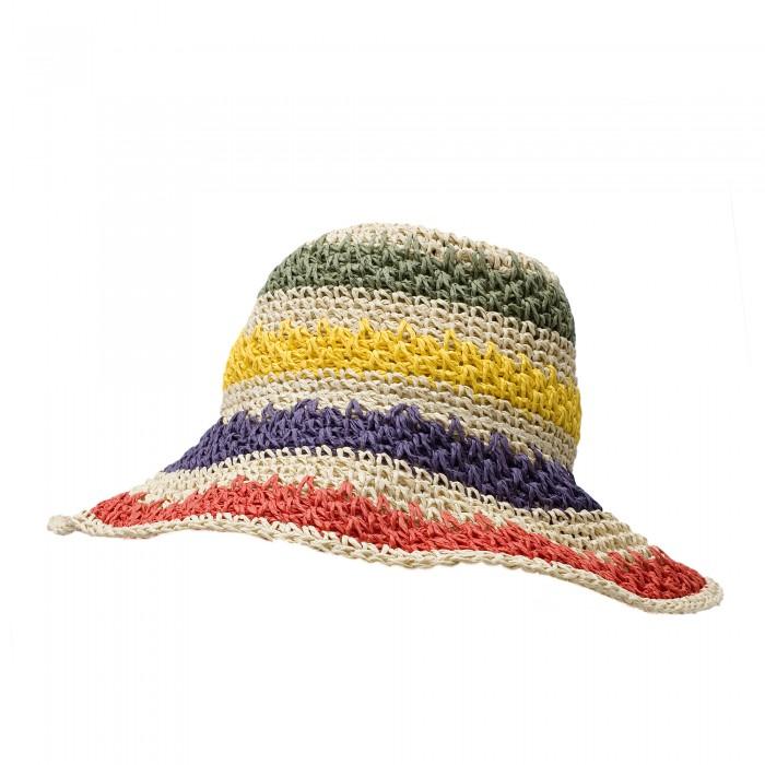 Ефектна дамска сламена шапка в светло бежов цвят с многоцветни детаили-4027