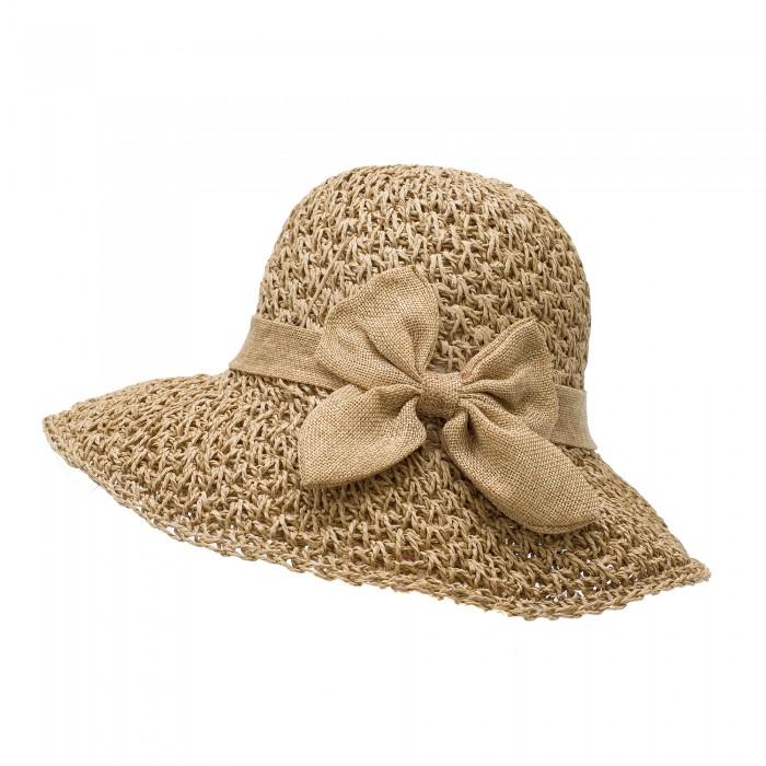 Тъмно бежова сламена дамска шапка с изискана панделка-614
