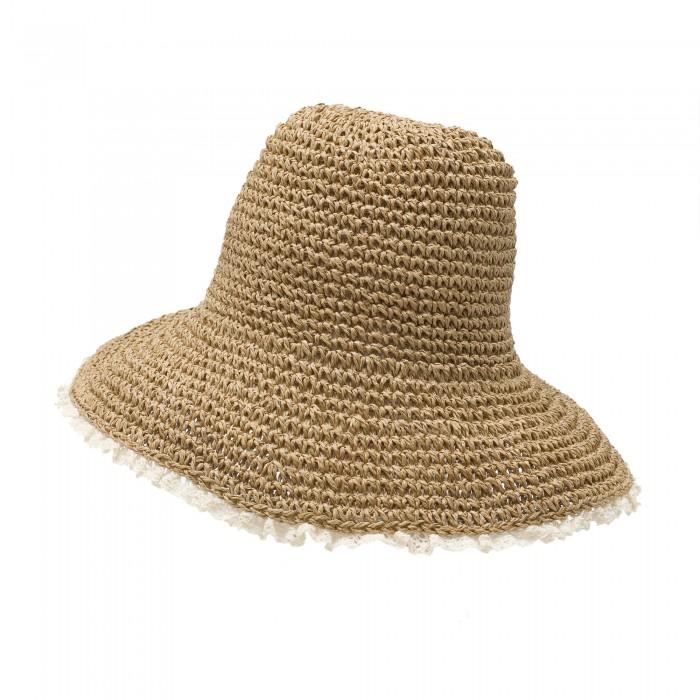Сламена дамска шапка в кафяв цвят с нежна дантела на периферията-4029
