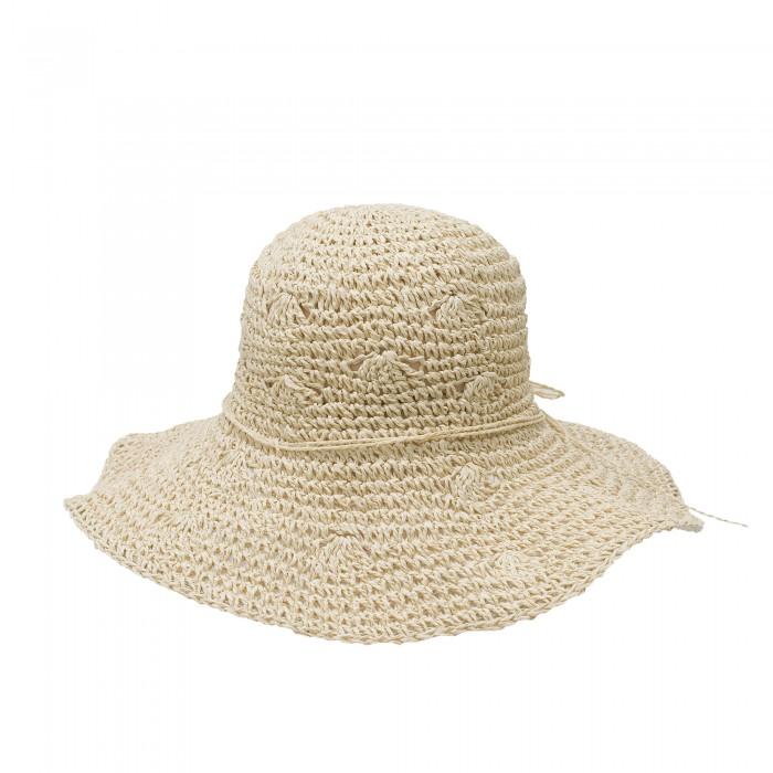 Лятна бежова дамска шапка от сплетена сламена хартия с бежова връзка-4037
