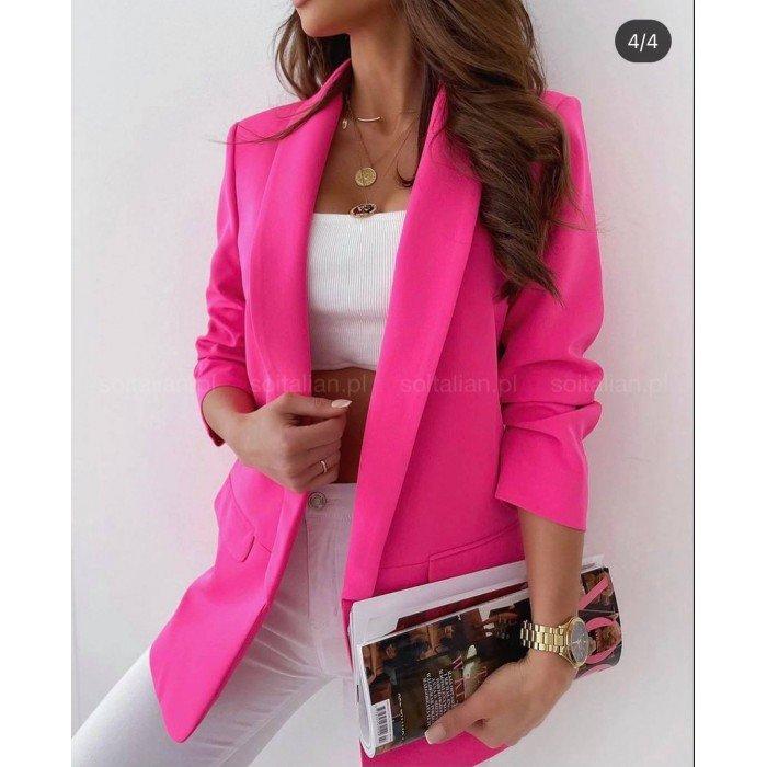 Елегантно дамско сако в цвят циклама без закопчаване с 7/8 ръкав-468