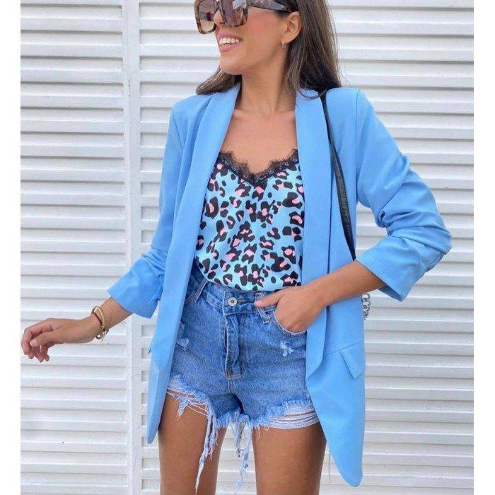 Елегантно дамско сако в син цвят без закопчаване с 7/8 ръкав-468