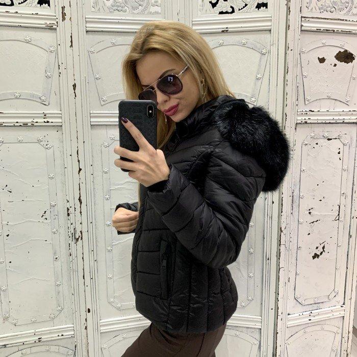 Зимно черно дамско яке с качулка и черен еко косъм-154