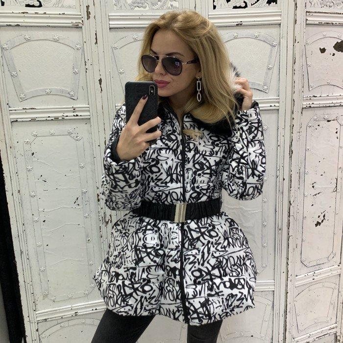 Зимно дамско яке в бяло и черно с качулка и естествен черно-бял пух-3816