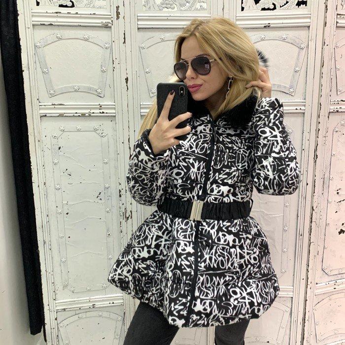 Зимно дамско яке в черно и бяло с качулка и естествен черно-бял пух-3816