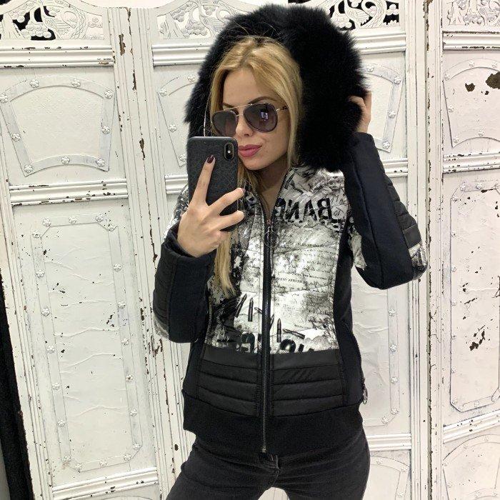 Дамско късо яке в черно, сиво и бяло с качулка и черен естествен пух-3899