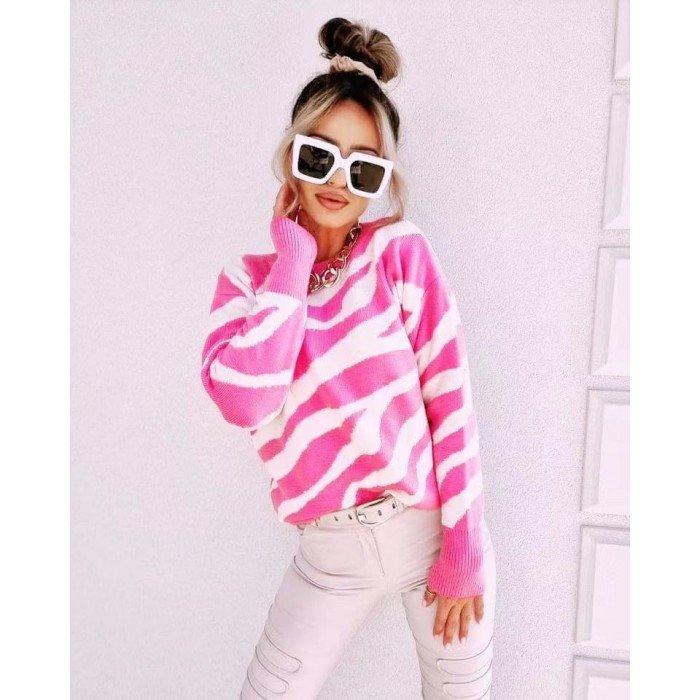 Стилна дамска блуза в ефектна комбинация розово и бяло-4156