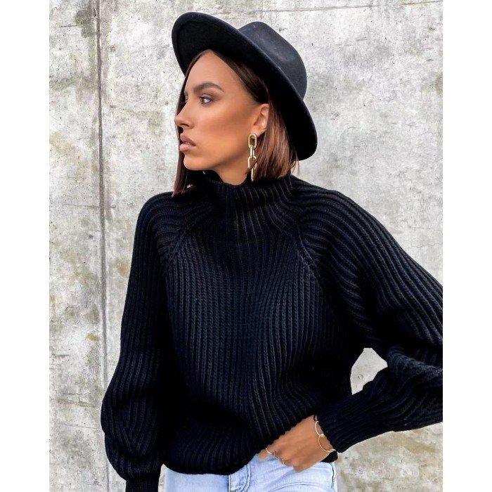 Дамска блуза от финно плетиво в черен цвят с поло яка-4155