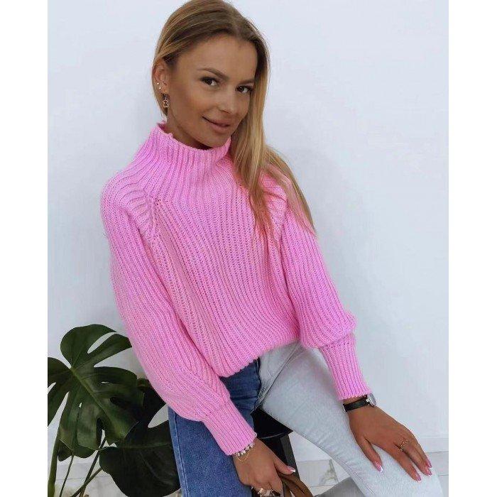 Плетена дамска блуза от финна материя в розов цвят с поло яка-4155