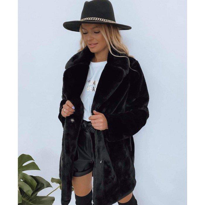 Уникално пухкаво дамско палто в черен цвят с ревер яка-4154