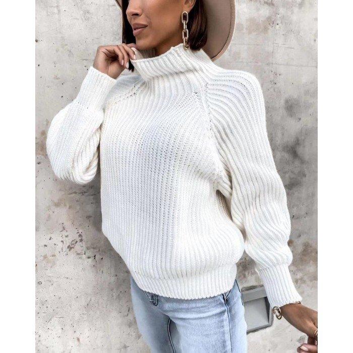 Бяла плетена дамска блуза от финна материя с поло яка-4155