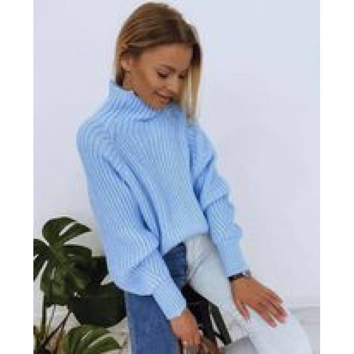 Синя плетена дамска блуза от финна материя с поло яка-4155