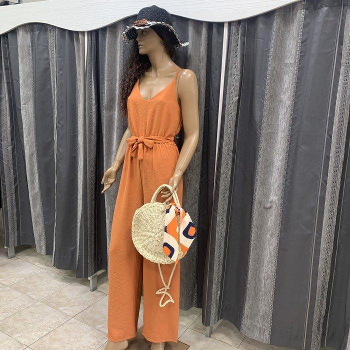 Дамски гащеризон в оранжев цвят-2184