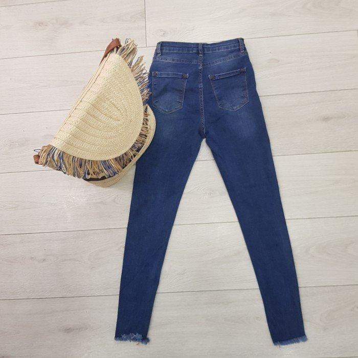 Дамски дънки с висока талия в син цвят с накъсан ефект-220