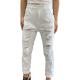 Дамски бели дънки с висока талия и накъсан ефект-1573