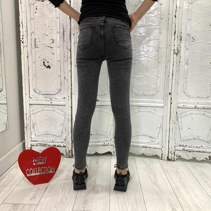 Дамски тъмно сиви дънки с висока талия и леко накъсан ефект-3955