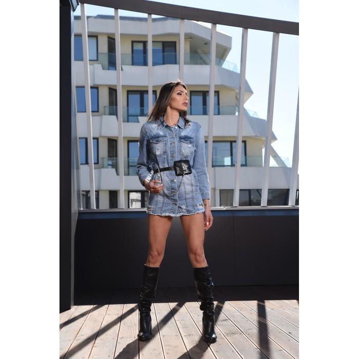 Дълго дамско пролетно яке  от дънков плат с модерен аксесоар-3997