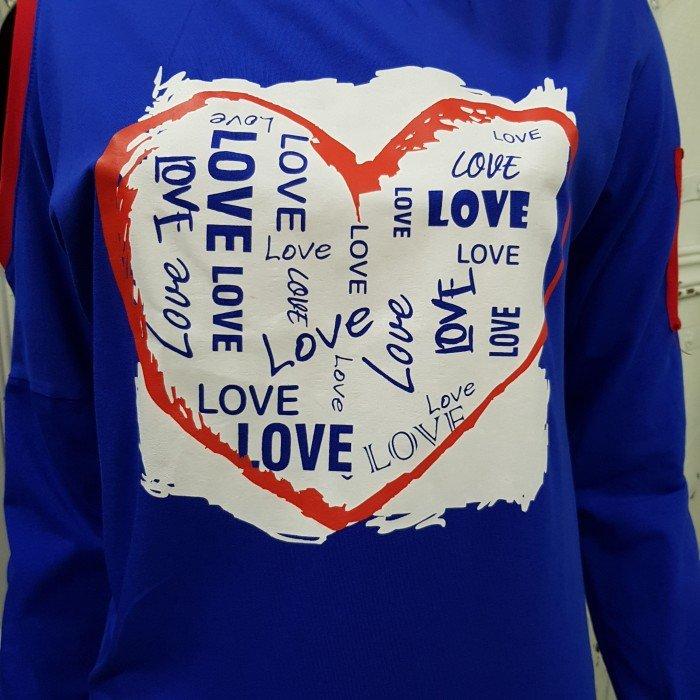 Дамска блуза в син цвят с акцент ефектно сърце-3618