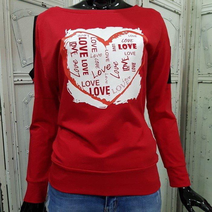 Дамска блуза в червен цвят с акцент ефектно сърце-3618