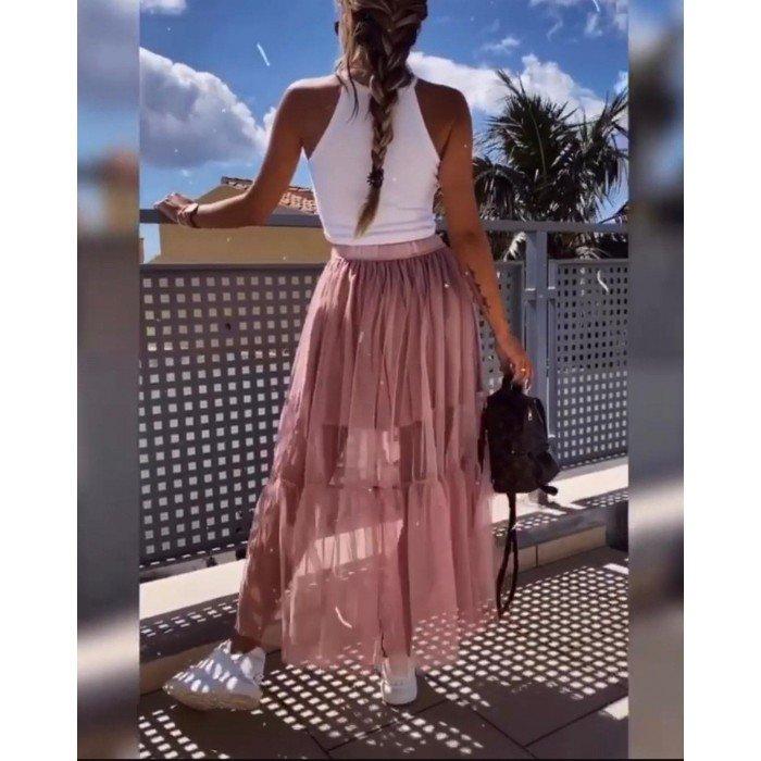 Дамска спортно-елегантна пола в цвят пепел от рози-1413