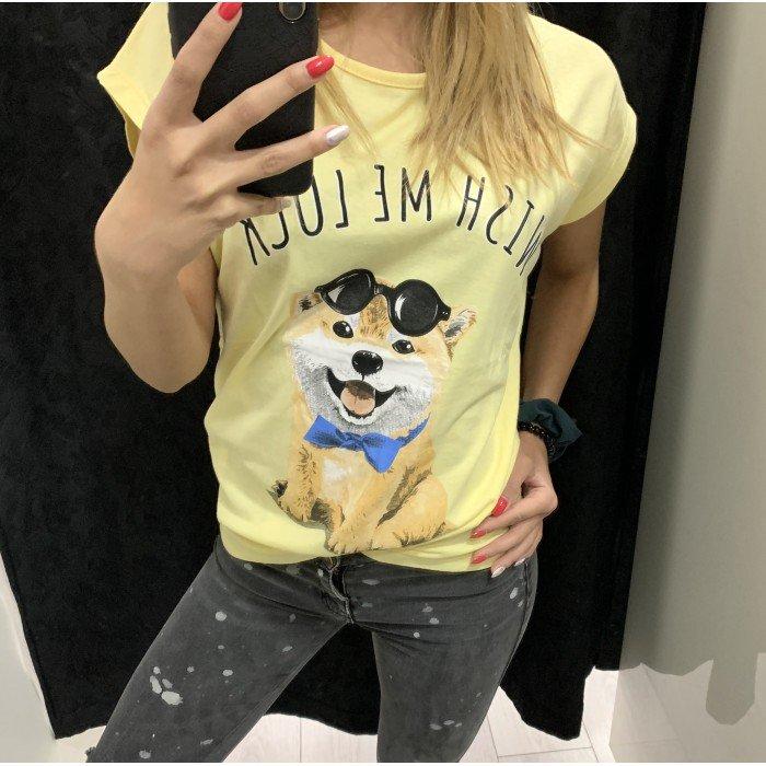 Дамска блуза в жълт цвят с акцент интересен принт-1091