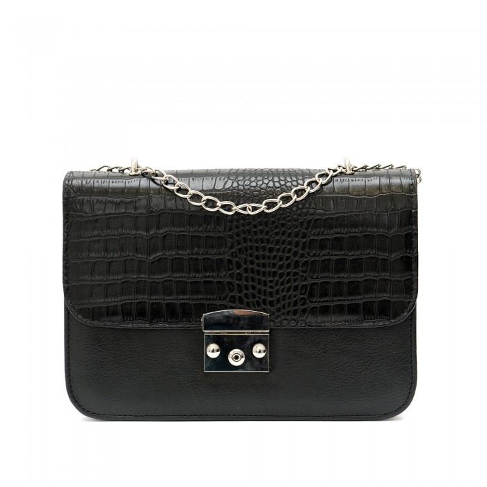 Дамска чанта в черен цвят от еко кожа с акцент кроко мотив-1212