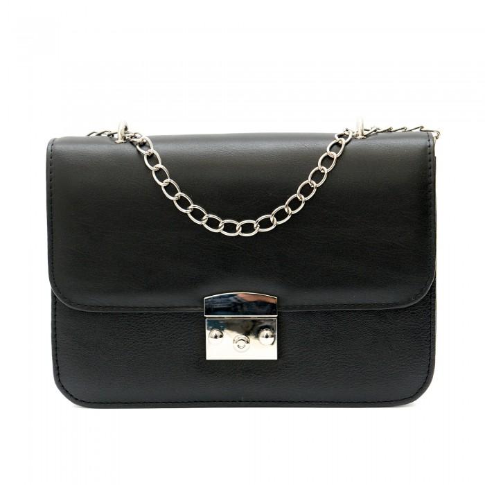 Ежедневна дамска малка чанта в черен цвят от еко кожа-1212